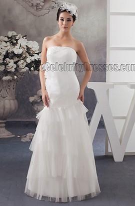 Sheath/Column Floor Length Strapless Bridal Gown Wedding Dress