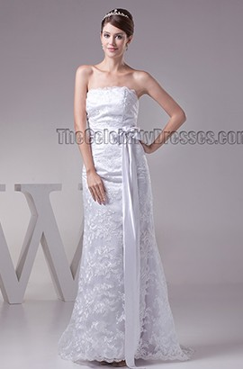 Sheath/Column Floor Length Strapless Lace Wedding Dress
