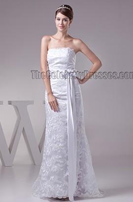 Sheath/Column Floor Length Strapless Lace Wedding Dress