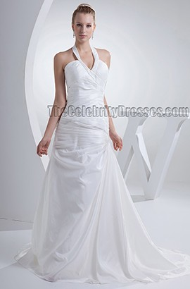 Sheath/Column Halter Chapel Train Taffeta Bridal Gown Wedding Dress