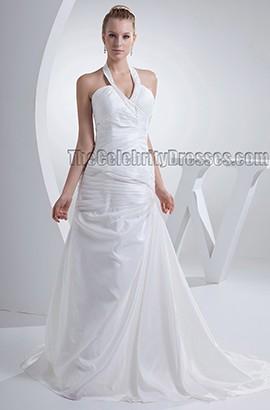 Sheath/Column Halter Chapel Train Taffeta Bridal Gown Wedding Dress