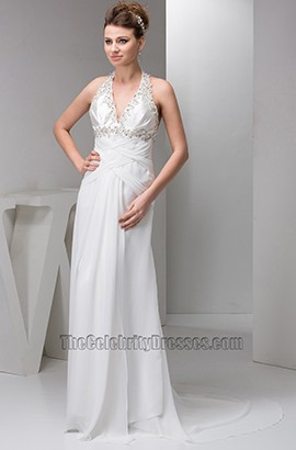 Sheath/Column Halter Chapel Train Wedding Dress With Beadwork