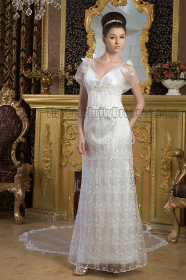 Sheath/Column Lace Beaded Cap Sleeve Watteau Train Wedding Dress