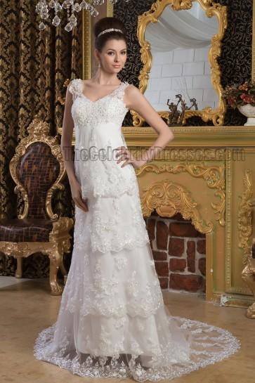 Sheath/Column Lace Beaded V-Neck Chapel Train Wedding Dresses