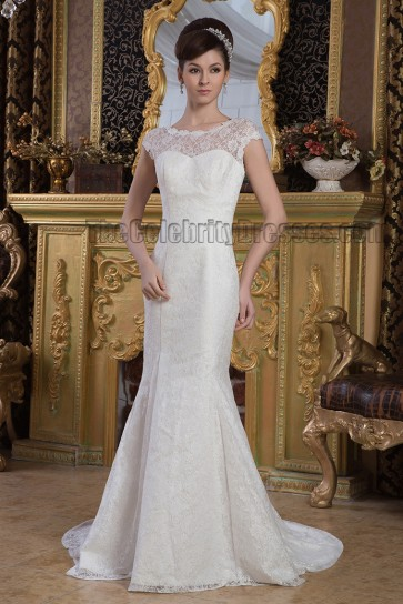 Sheath/Column Lace Sweep/Brush Train Wedding Dress Bridal Gown