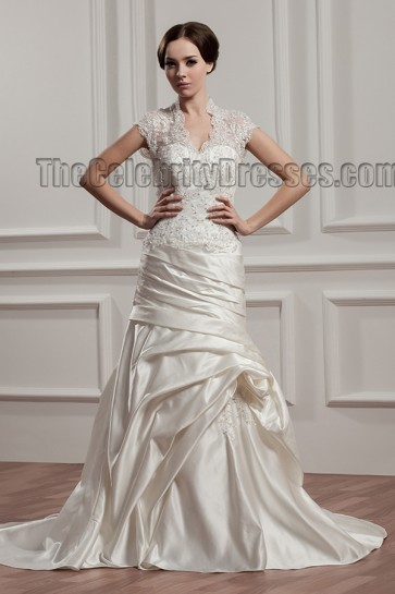Sheath /Column V-Neck Lace Taffeta Wedding Dresses