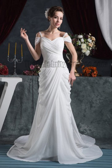Sheath/Column Off-the-Shoulder Watteau Train Wedding Dress