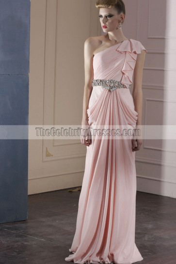 Sheath/Column Pink One Shoulder Beaded Evening Prom Dresses