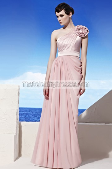 Sheath/Column Pink One Shoulder Prom Gown Evening Dresses