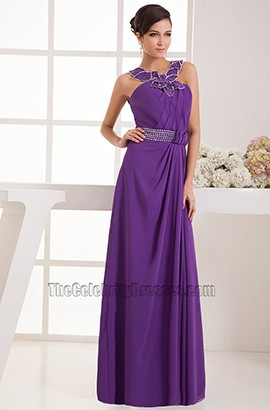 Floor Length Purple Chiffon Bridesmaid Prom Dresses