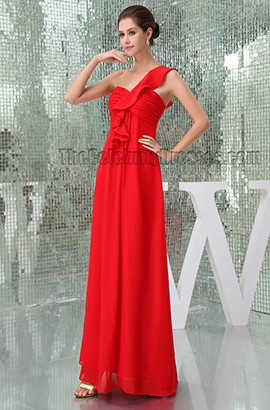 Sheath/Column Red One Shoulder Bridesmaid Prom Dresses