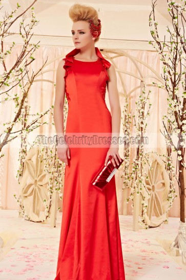 Sheath/Column Red Sleeveless Formal Dress Evening Gown