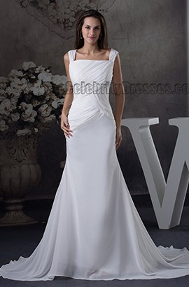 Sheath/Column Sexy Backless Chiffon Chapel Train Wedding Dress