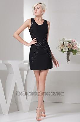 Sheath/Column Short Mini Beaded Black Party Homecoming Dresses