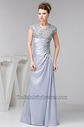 Sheath/Column Silver Embroidery Prom Gown Evening Formal Dresses