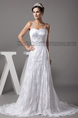 Sheath/Column Spaghetti Straps Chapel Train Lace Wedding Dress
