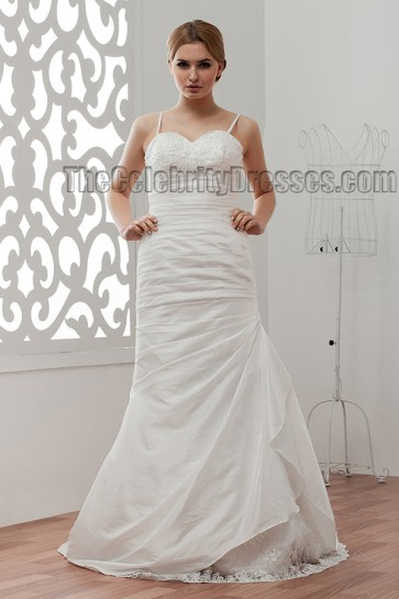 Sheath/Column Spaghetti Sweep Brush Train Wedding Dresses