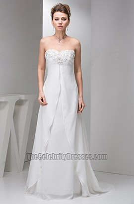 Sheath/Column Strapless Chiffon Chapel Train Wedding Dresses