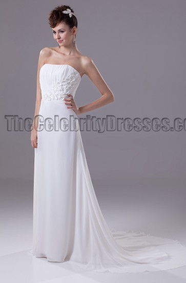 Sheath Column Strapless Chiffon Wedding Dresses