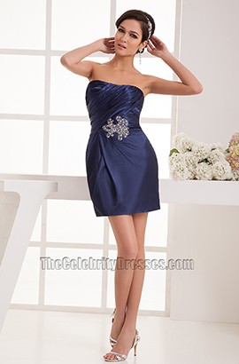 Sheath/Column Strapless Dark Navy Cocktail Party Dresses