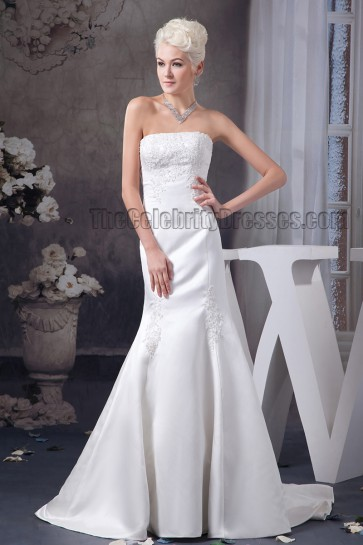 Trumpet/Mermaid Strapless Embroidered Chapel Train Wedding Dresses