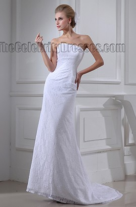 Sheath/Column Strapless Lace Sweep Brush Train Wedding Dress