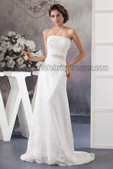Sheath/Column Strapless Lace Sweep Brush Train Wedding Dresses