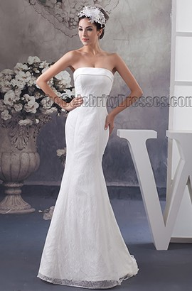 Sheath/Column Strapless Sweep Brush Train Wedding Dress
