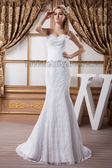 Sheath/Column Strapless Sweethart Beaded Lace Wedding Dress