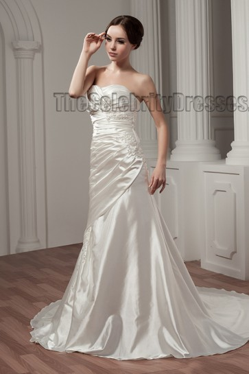 Sheath/Column Strapless Sweetheart Chapel Train Wedding Dresses