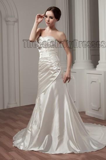 Sheath/Column Strapless Sweetheart Chapel Train Wedding Dresses
