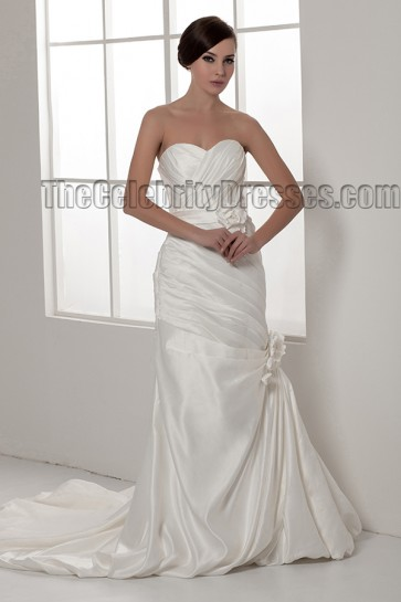 Sheath/Column Strapless Sweetheart Taffeta Wedding Dresses