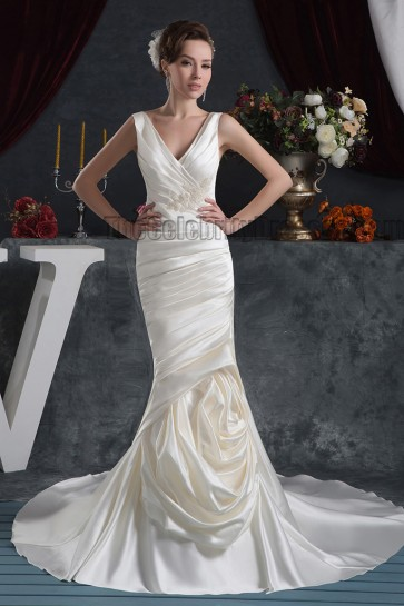 Sheath/Column V-Neck Chapel Train Wedding Dresses