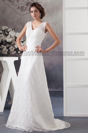 Sheath/Column V-Neck Lace Beaded Bridal Gown Wedding Dresses