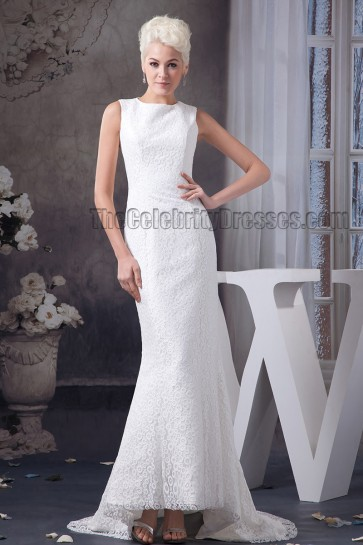 Sheath/ Column Sleeveless Lace Sweep /Brush Train Wedding Dress