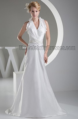 Sheath/Coumn Halter Sweep /Brush Train Wedding Dresses
