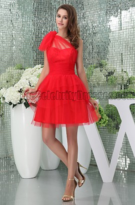 Discount Short Red One Shoulder Party Graduation Cocktail Dress