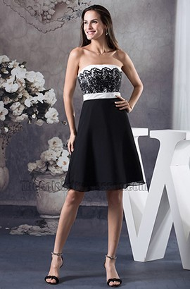 Short Strapless Black Party Cocktail Graduation Dresses