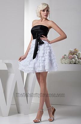 Gorgeous Short A-Line Black And White Party Graduation Dresses