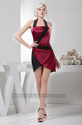 Short Black Burgundy Halter Cocktail Party Homecoming Dresses
