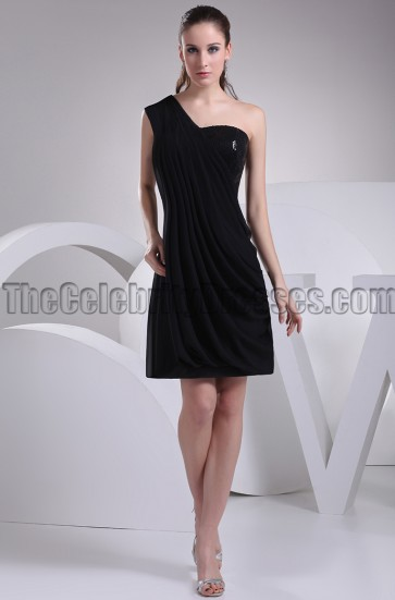 Short Black Chiffon One Shoulder Party Graduation Dresses