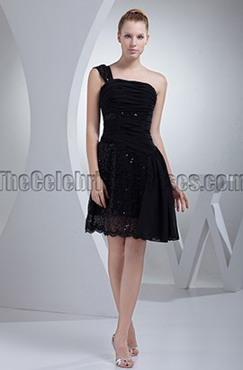 Chic Short Black One Shoulder Graduation Party Dresses
