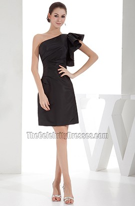 Chic Short Black One Shoulder Party Homecoming Dresses