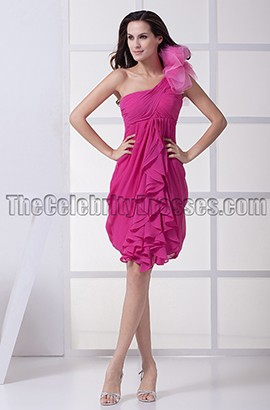 Short Fuchsia One Shoulder Party Cocktail Dresses