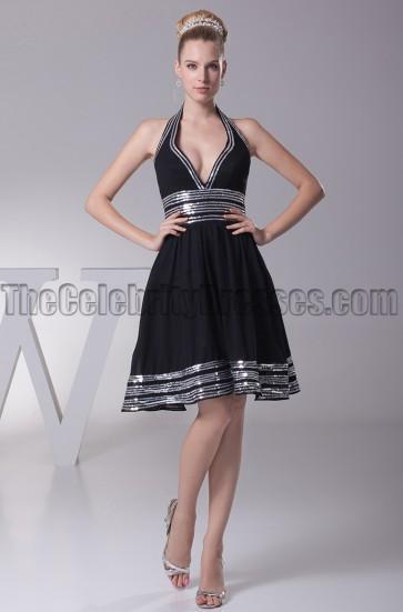 Short Halter A-Line Little Black Party Homecoming Dresses