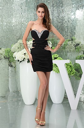 Short /Mini Black Cut Out Strapless Beaded Party Homecoming Dress
