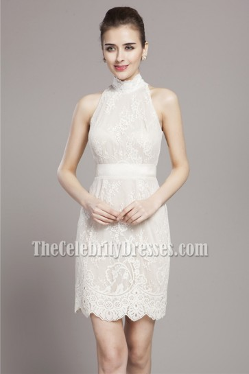Short/Mini Ivory Lace High Neck Cocktail Party Dresses