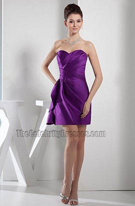 Short Mini Purple Strapless Sweetheart Party Homecoming Dress