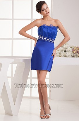 Short/Mini Royal Blue Beaded Strapless Party Homecoming Dresses