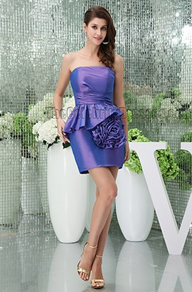 Discount Short Mini Strapless Purple Party Cocktail Dresses